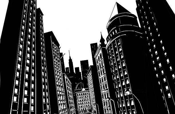 schwarze stadt auf weißem hintergrund - comic stock-fotos und bilder