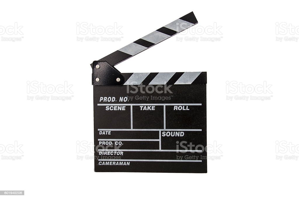 Black clapperboard, isolated on white. stock photo