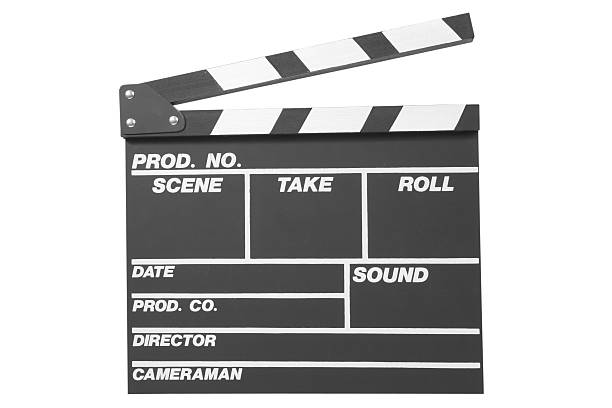 Black clapperboard stock photo