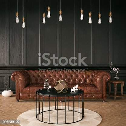 Classic house interior with chesterfield sofa
