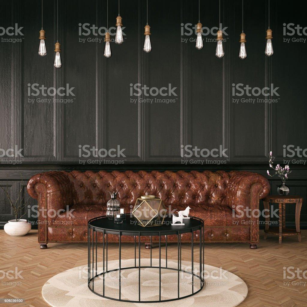 Black Classic Interior stock photo