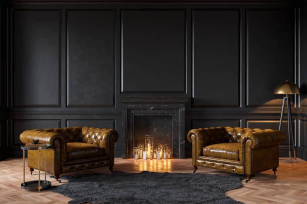 czarne klasyczne wnętrze z kominkiem, skórzane fotele, dywan, świece. wizualizacja ilustracji renderowania 3d. - luksus zdjęcia i obrazy z banku zdjęć