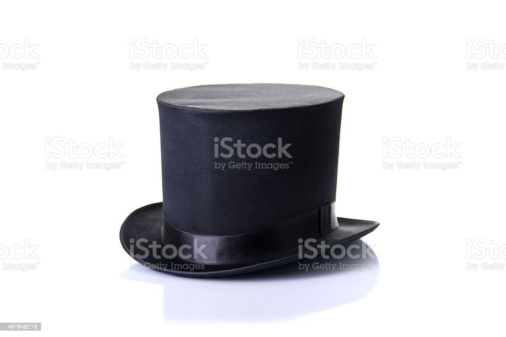 Black classic top hat, isolated on white background stock photo