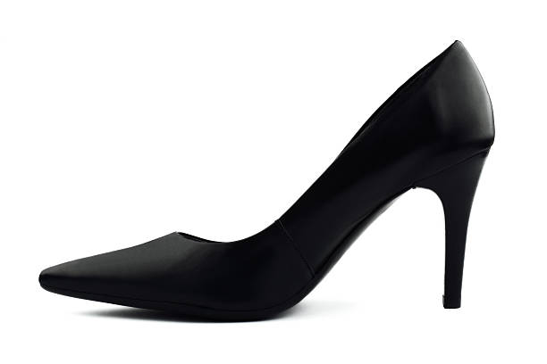 black classic women's shoe with high heel on white background - schwarze hohe schuhe stock-fotos und bilder
