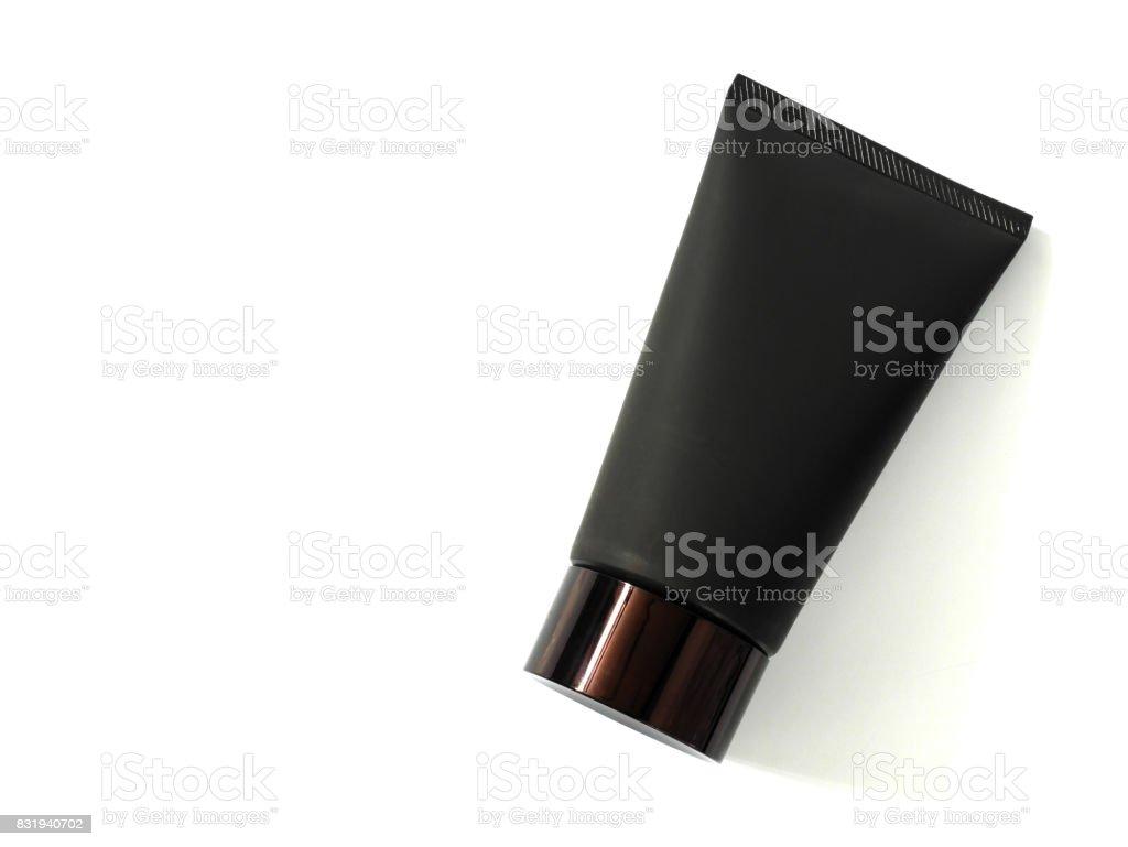 Black cleanser tube stock photo