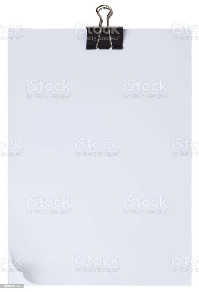 Black clip and blank note pape stock photo
