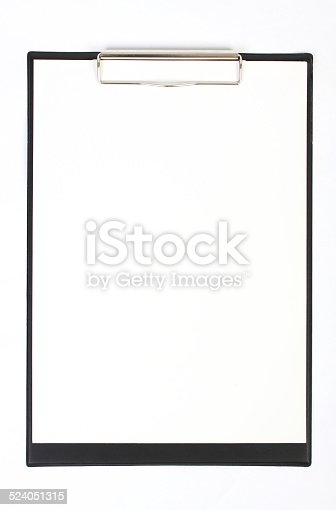 istock Black clipboard with blank sheets of paper isolated on white 524051315