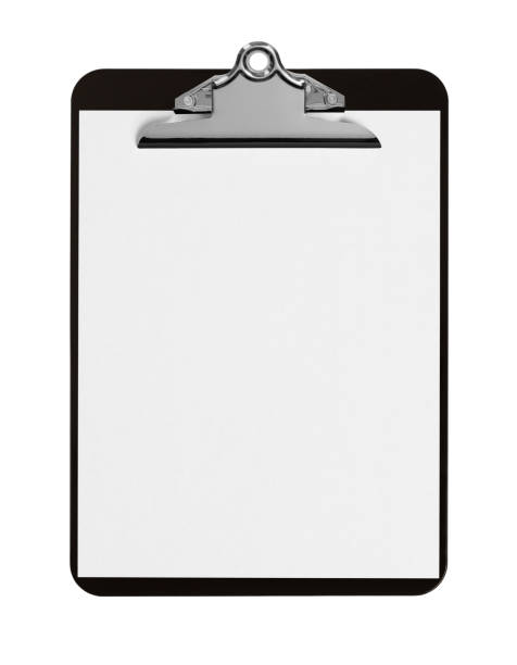 Black Clipboard with Paper stock photo