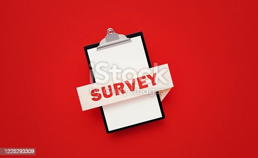 524051315 istock photo Black Clipboard with Survey Written Banner on Red Background 1225293309