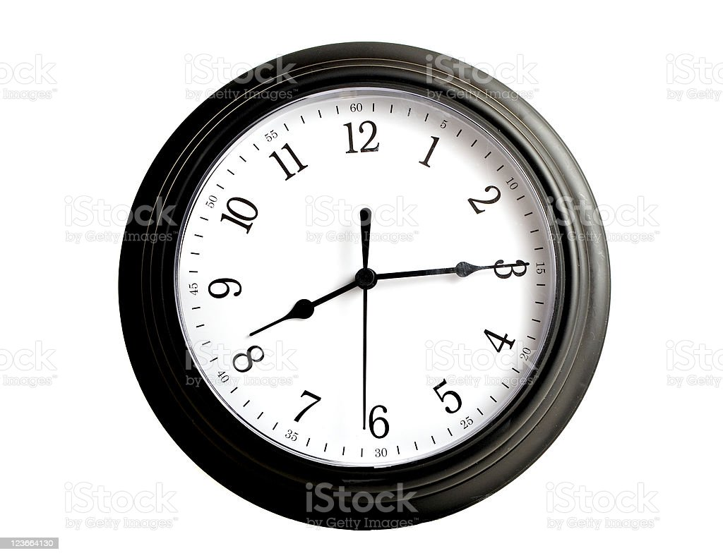 Black Clock Eight Fifteen Isolated on White stock photo