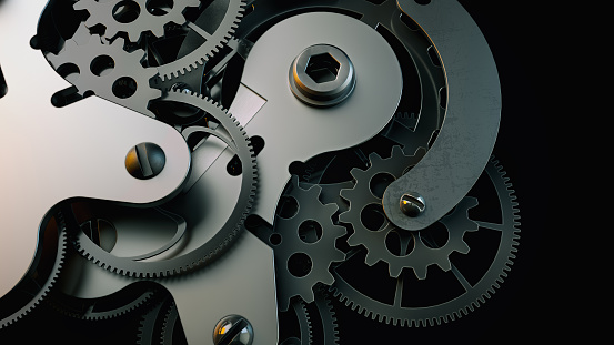 istock Black clock gear Is made up of 3d programs. 825055314