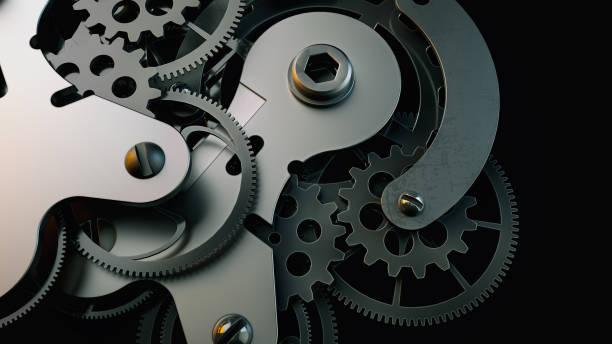 Black clock gear Is made up of 3d programs. stock photo