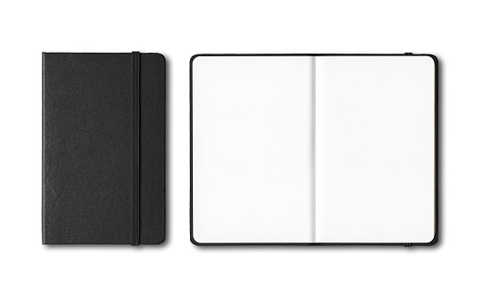 Black closed and open notebooks isolated on white