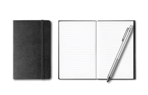 Black closed and open notebooks with pen isolated on white
