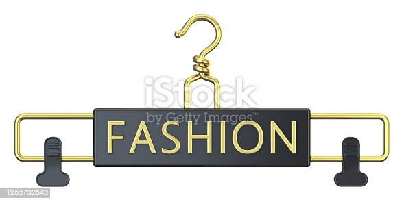 Black cloth hanger with FASHION text 3D render illustration isolated on white background