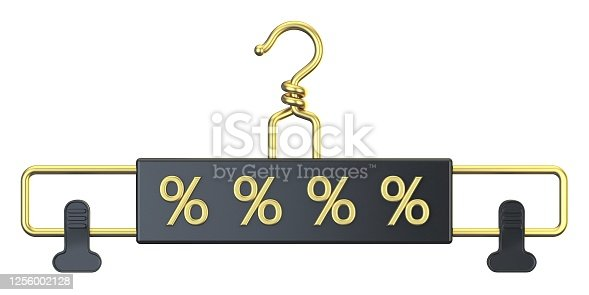 Black cloth hanger with PERCENT text 3D render illustration isolated on white background