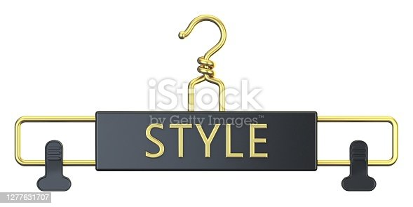 Black cloth hanger with STYLE text 3D render illustration isolated on white background