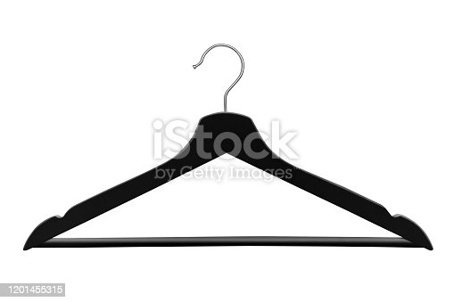 Black clothes hanger, isolated on white background