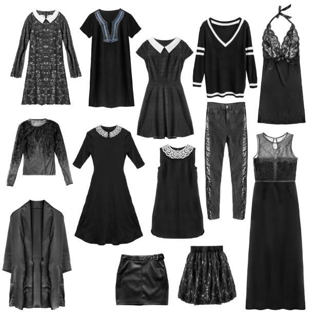 schwarzer kleidung isoliert - spitzen maxi stock-fotos und bilder