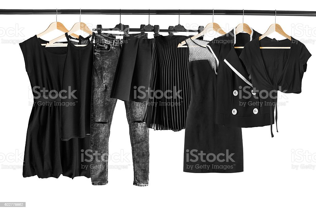 Black clothes on clothes rack stock photo