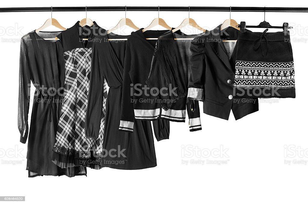 Black clothes on clothes racks