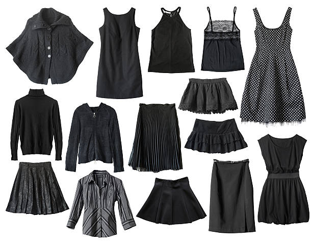 Black clothes Set of black female clothes isolated over white blouse stock pictures, royalty-free photos & images