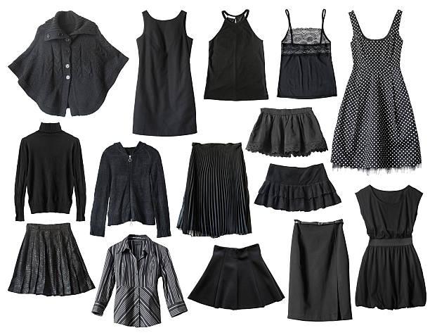 schwarze kleidung - damen umhänge stock-fotos und bilder