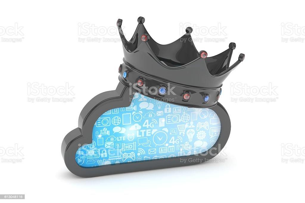 Black cloud icon. 3D rendering. stock photo
