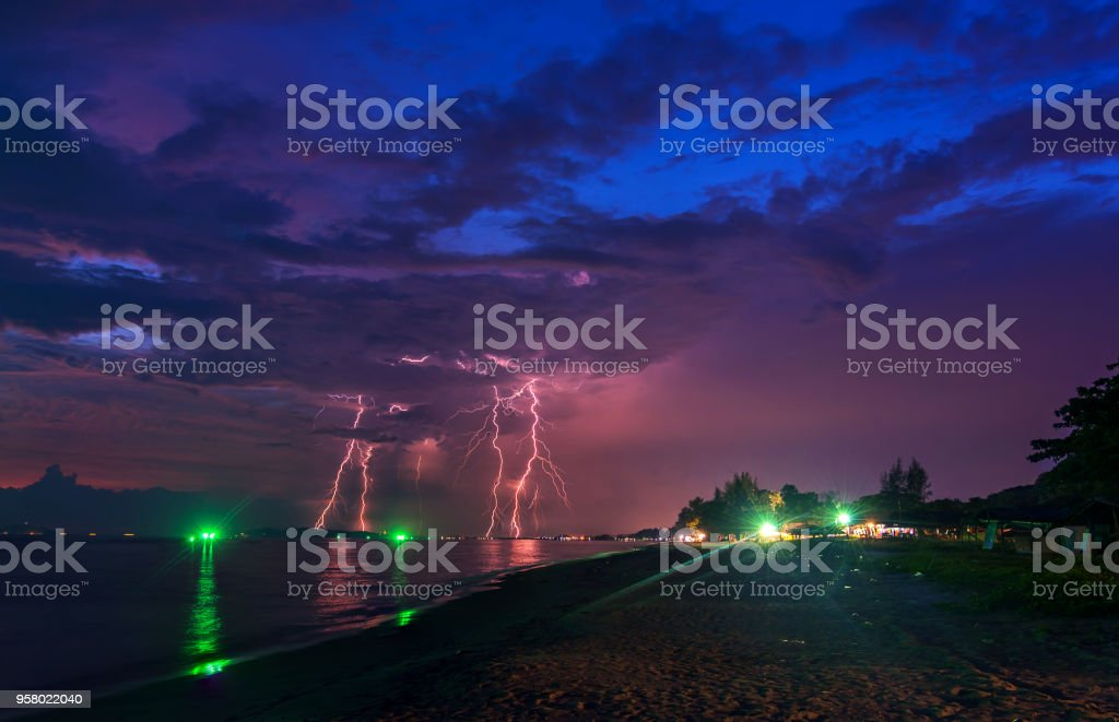 Black cloud of Thunder strom covered the city stock photo