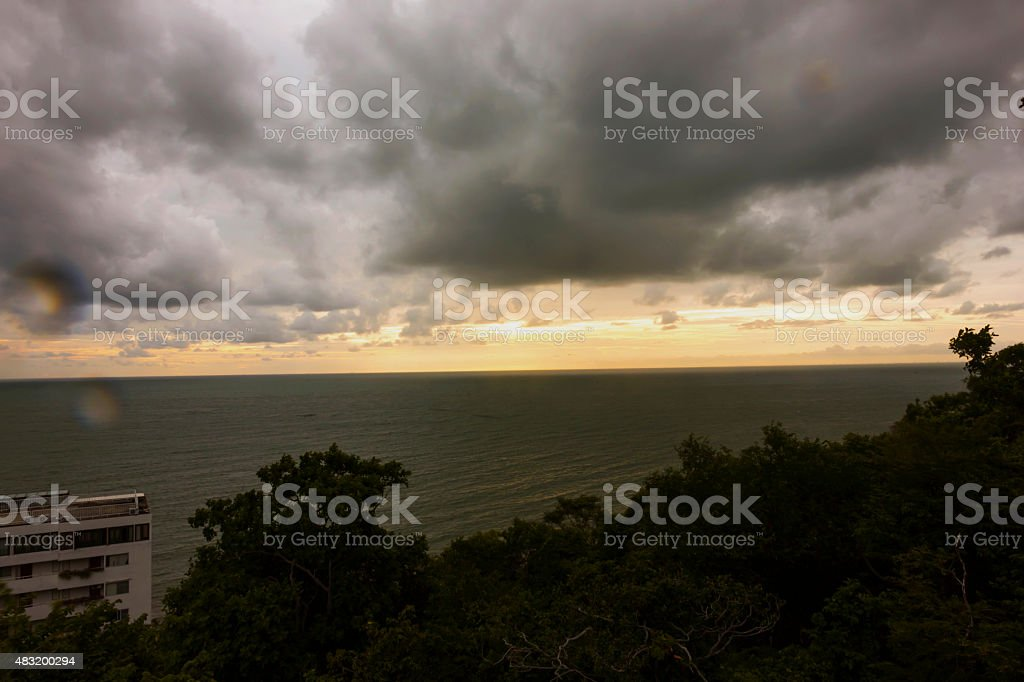 Black clouds in the ocean stock photo