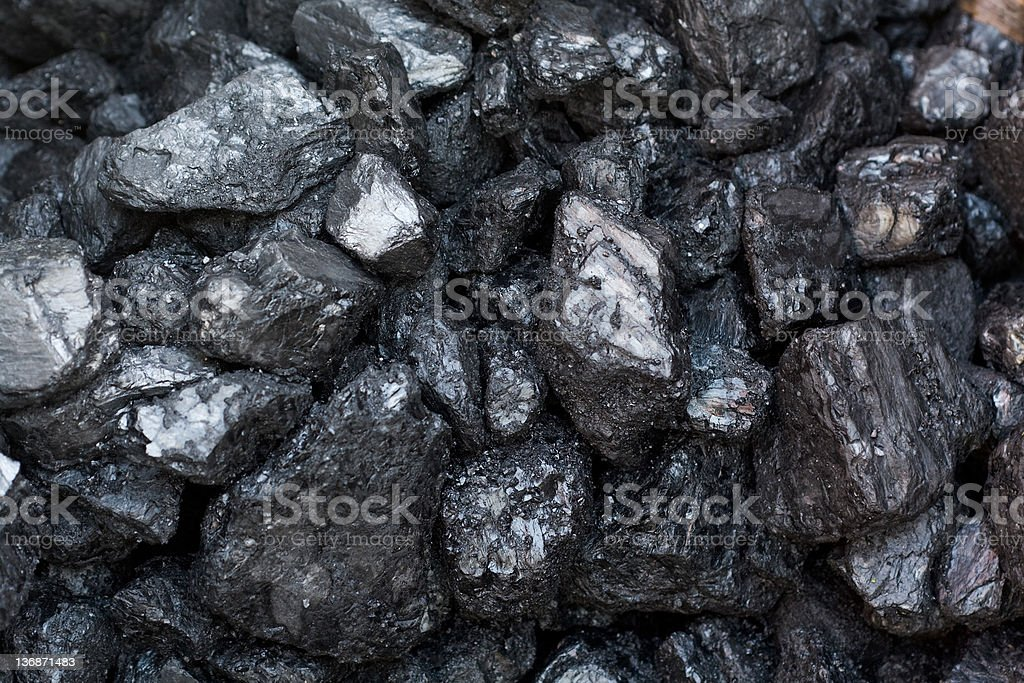 Black Coal in a pile stock photo