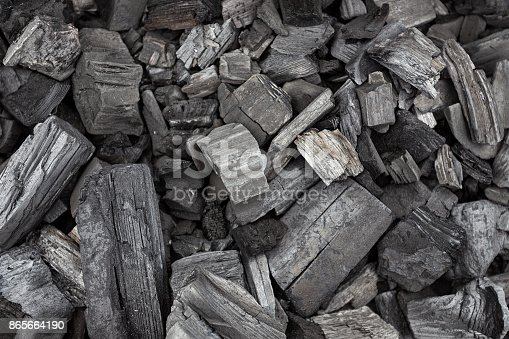 istock black coal texture, coal for barbecue 865664190