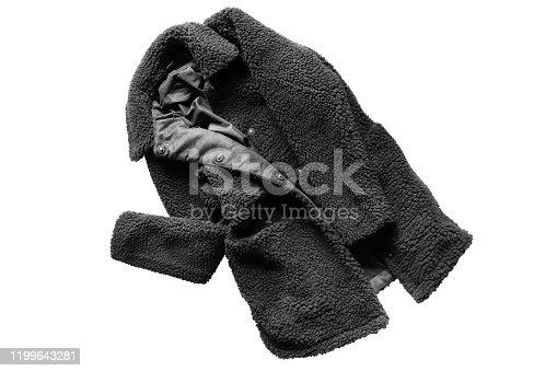 Black crumpled faux fur coat on white background
