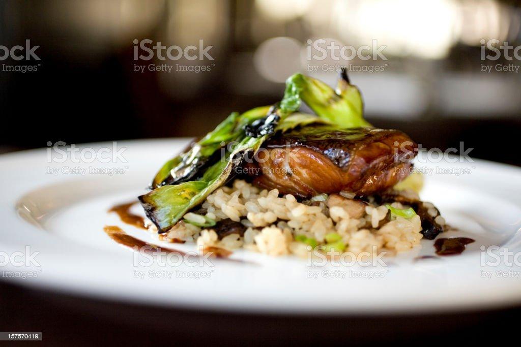 Black cod with soy miso glaze stock photo