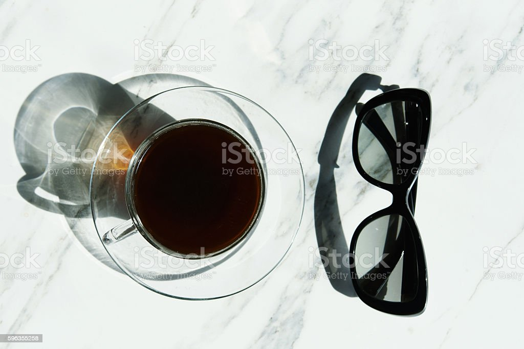 black coffee and sunglasses royalty-free stock photo