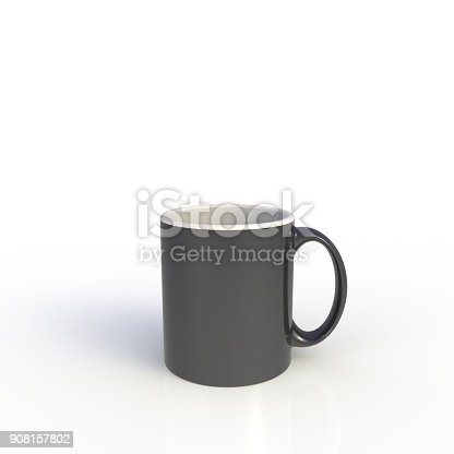 904387004 istock photo Black coffee cup isolated on white background. Close up with side view. Mock up Template for application design. Exhibition equipment. Set template for the placement of the logo. 3D rendering. 908157802