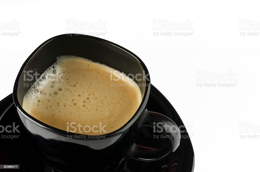 Black coffee cup over white. royalty-free stock photo