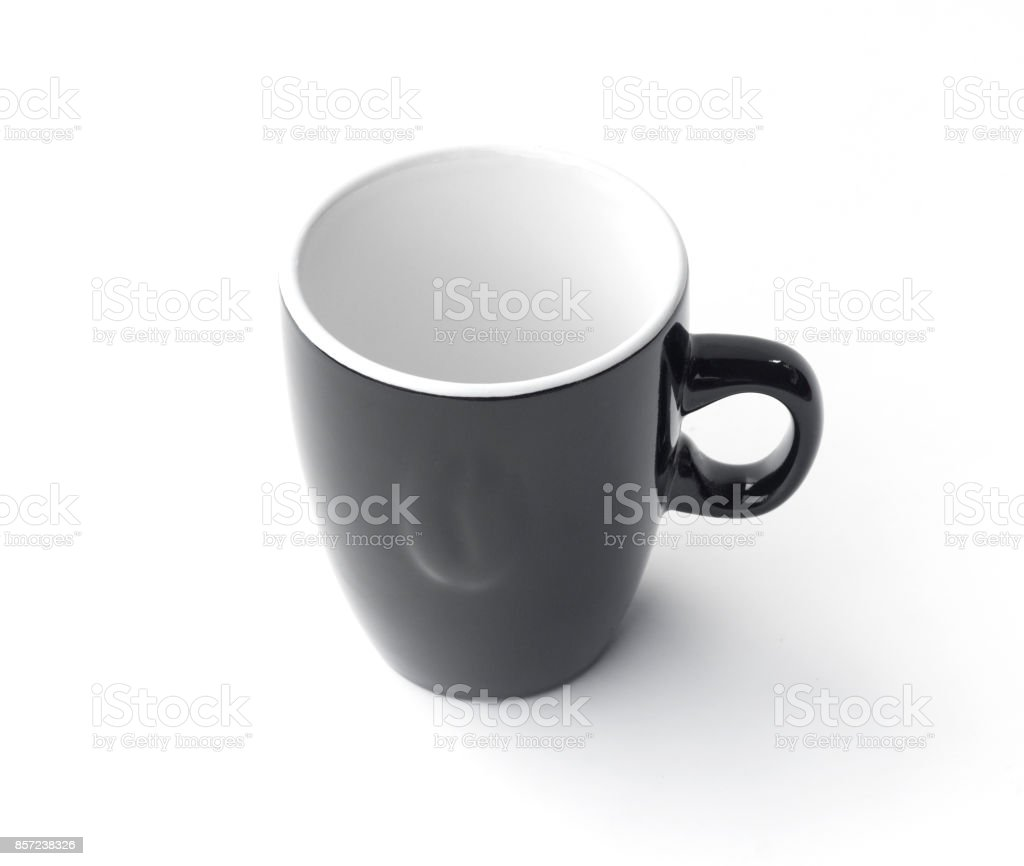 black coffee cup with simple design isolated on white background stock photo