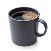 Black coffee in a blue-grey ceramic mug isolated on white.