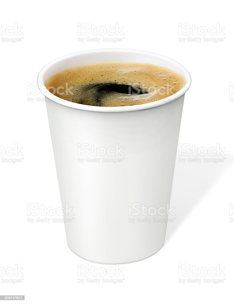 black Coffee in disposable cup with clipping path stock photo
