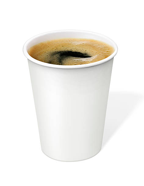 black coffee in disposable cup with clipping path - paper coffee cup stock photos and pictures