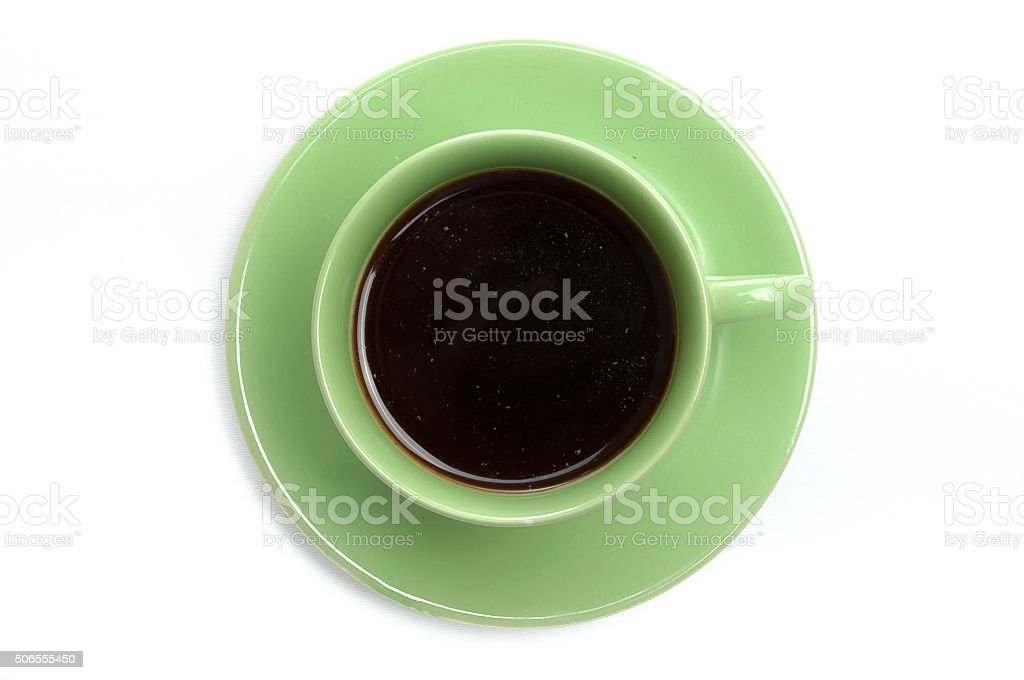 Black coffee in green cup, top view stock photo