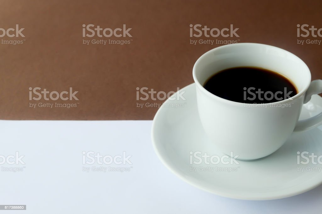 Black coffee  in white cup. stock photo