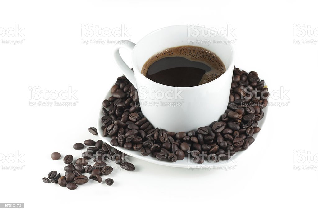 Black coffee in white cup royaltyfri bildbanksbilder