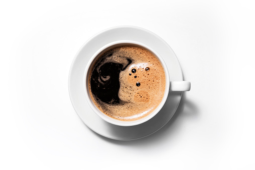 Black coffee isolated on a white background.