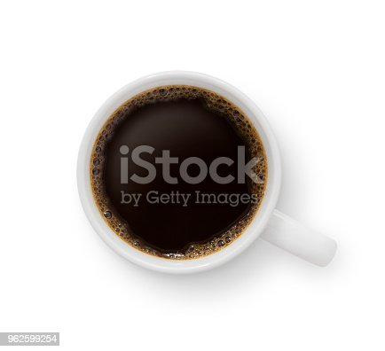 Top view of a black coffee mug isolated on white (excluding the shadow)