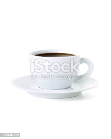 black coffee isolated on white