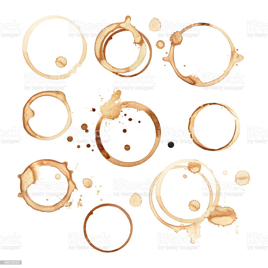 Black coffee rings and stains isolated on white paper stock photo