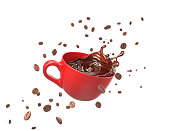 black coffee splash in red cup with coffee beans, 3d illustration.