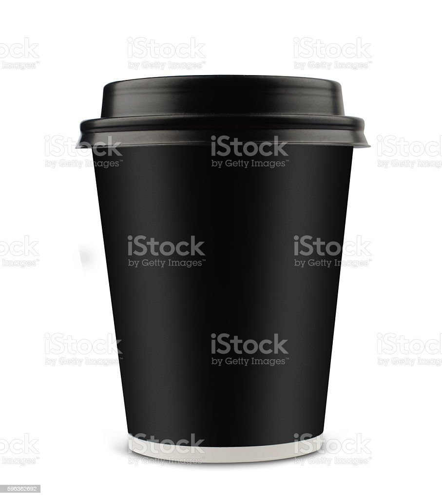 black coffee takeaway cup isolated on white royalty-free stock photo